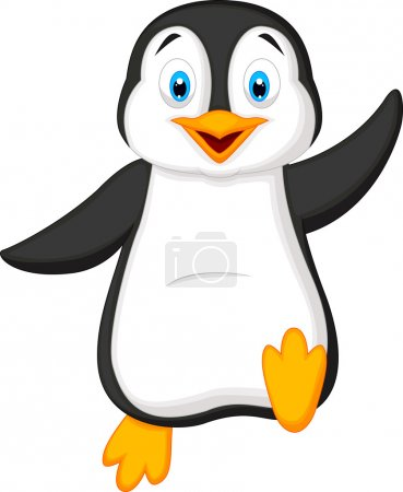 Illustration for Cute penguin cartoon waving - Royalty Free Image