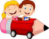 Children riding pencil car