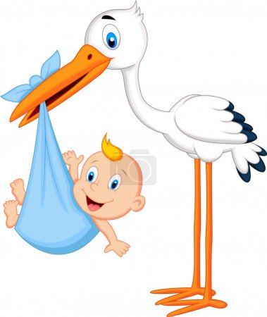 Photo for Cute stork carrying baby - Royalty Free Image