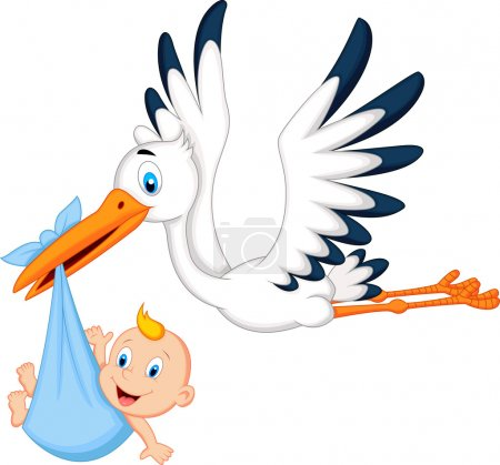 Photo for Cartoon stork carrying baby - Royalty Free Image