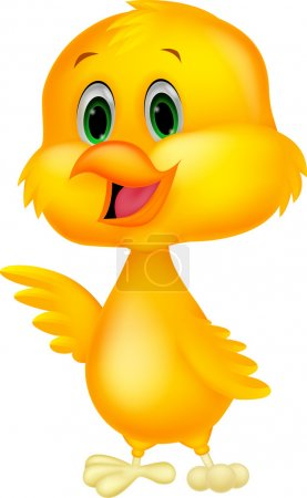 Cute chicken cartoon waving