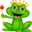 Happy frog king cartoon isolated on white...