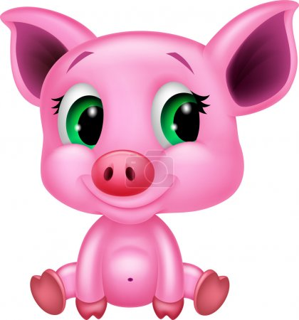 Illustration for Cute baby pig cartoon isolated on white - Royalty Free Image