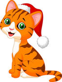 Cat cartoon wearing Santa hat