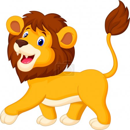 Illustration for Cute lion cartoon walking isolated on white - Royalty Free Image