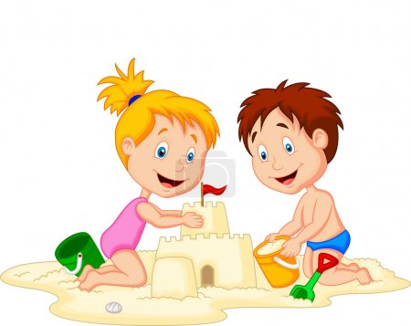Photo for Children making sand castle at tropical beach - Royalty Free Image