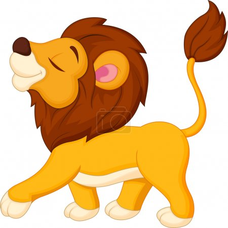 Cute lion cartoon walking