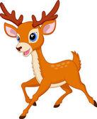 Cute deer cartoon with red hat