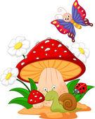 Little animals under mushroom