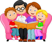 Vector illustration of Happy family cartoon reading book