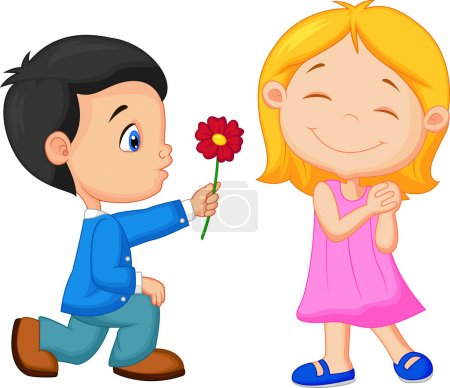 Illustration for Vector illustration of boy giving flower to girl - Royalty Free Image