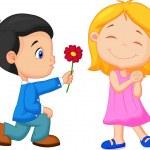 Vector illustration of boy giving flower to girl...
