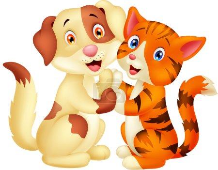 Cute cat and dog cartoon