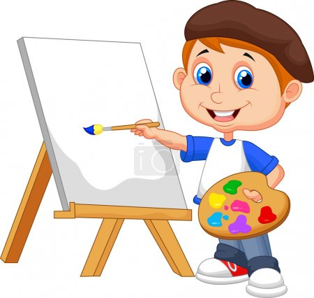 Illustration for Vector illustration of Cartoon boy painting - Royalty Free Image
