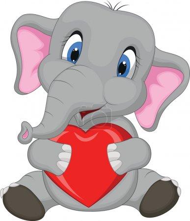 Illustration pour Illustration vectorielle de Mignon éléphant dessin animé tenant coeur rouge - image libre de droit