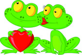 Cute frog couple holding red heart