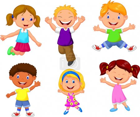 Illustration for Happy kids jumping cartoon on white background - Royalty Free Image