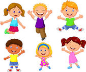 Happy kids jumping cartoon on white background