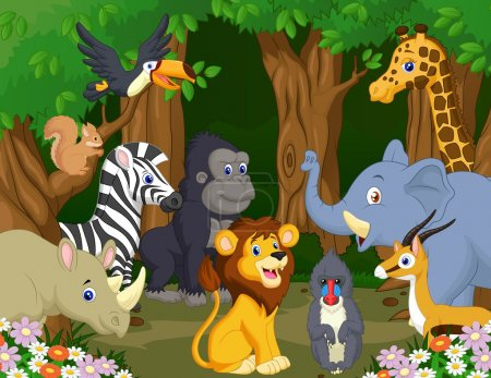 Illustration for Wild Animals cartoon in the forest - Royalty Free Image