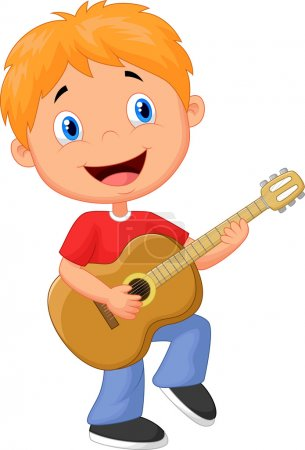 Illustration for Little boy playing guitar - Royalty Free Image