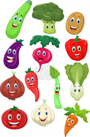 Photo for Cute vegetables cartoon character on white background - Royalty Free Image