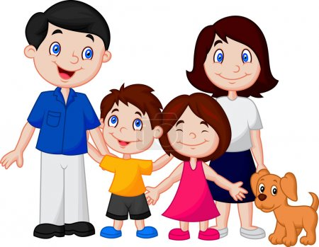 Illustration pour Happy bande dessinée familiale sur fond blanc - image libre de droit