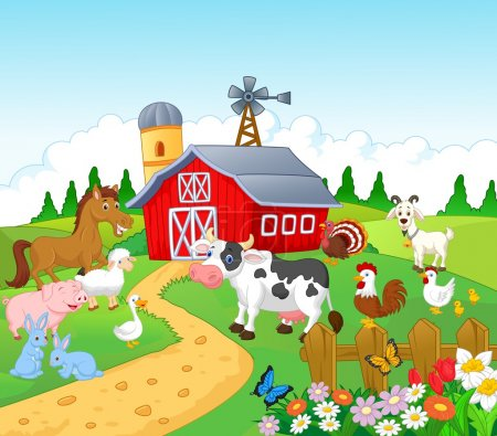 Illustration for Farm background with animals - Royalty Free Image