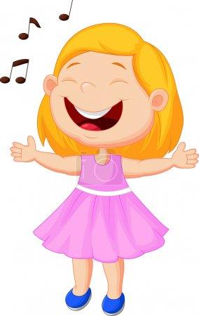 Illustration pour Petite fille chantant sur fond blanc - image libre de droit