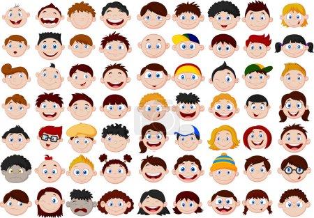 Illustration for Set of cartoon children head - Royalty Free Image