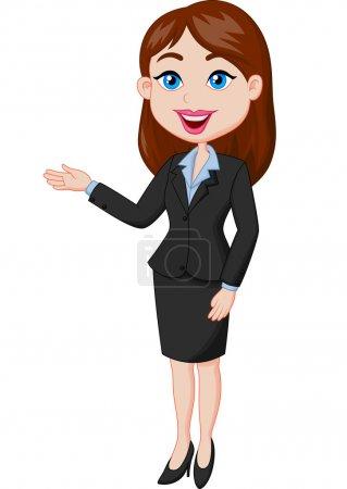 Illustration pour Femme d'affaires souriante présentant - image libre de droit
