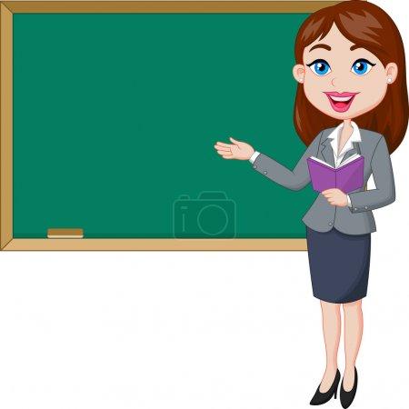 Cartoon female teacher standing next to a blackboa...