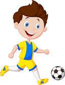 Jungen Fußball spielen