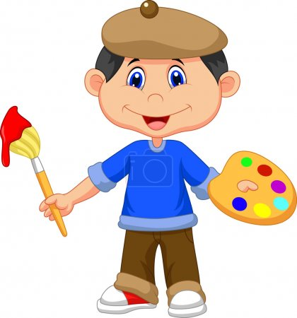 Illustration for Little boy is painting with paintbrush - Royalty Free Image
