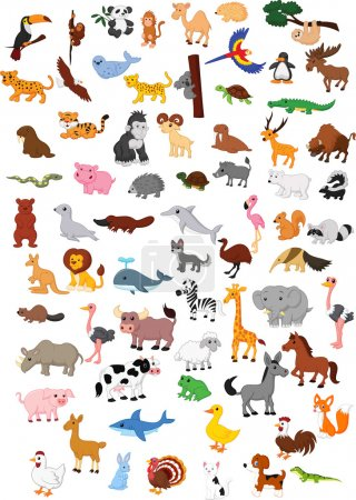 Illustration of big animal cartoon set...
