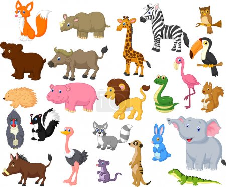 Illustration for Wild animal cartoon collection - Royalty Free Image