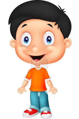 Illustration pour Dessin animé mignon garçon, posant sur fond blanc - image libre de droit