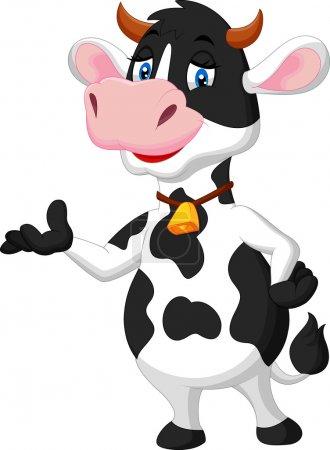 Illustration pour Mignon dessin animé de vache présentant illustration sur fond blanc - image libre de droit