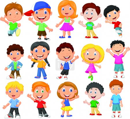 Photo for Cute children cartoon collection illustration on white background - Royalty Free Image