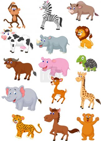 Photo for Wild animal cartoon collection illustration on white background - Royalty Free Image