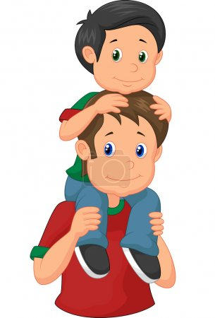Illustration for Father giving his son piggyback ride illustration on white background - Royalty Free Image