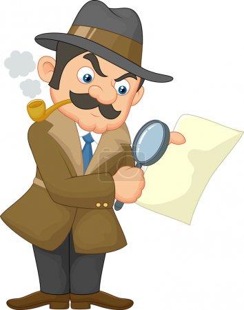 Illustration for Cartoon Detective Man illustration on white background - Royalty Free Image