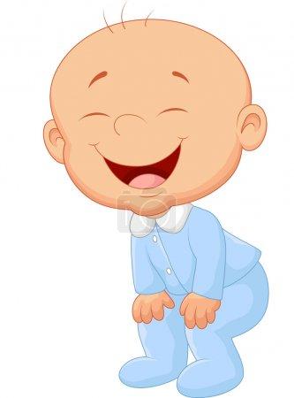 Illustration for Baby boy laughing illustration on white background - Royalty Free Image
