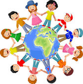 Circle of happy children different races illustration on white background