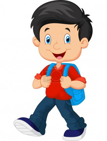 Illustration for School boy cartoon walking illustration - Royalty Free Image