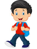 School boy cartoon walking illustration