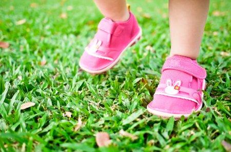 Photo pour Bébé faire ses petits pas sur l'herbe verte - image libre de droit