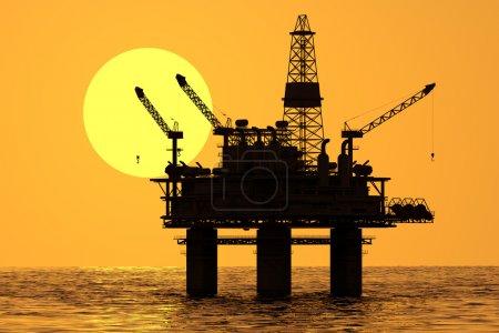 Oil platform on sea.