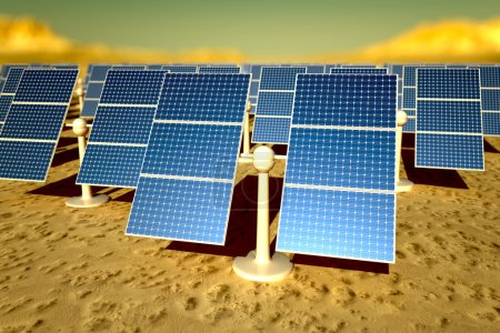 Sunny solar panels in a solar power station