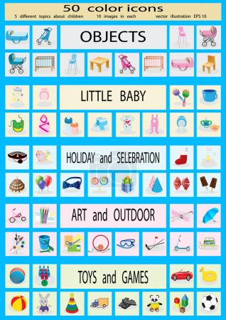 50 vector icons on children and childhood