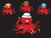 Red cheerful cartoon octopus, with various accessories ( hat).